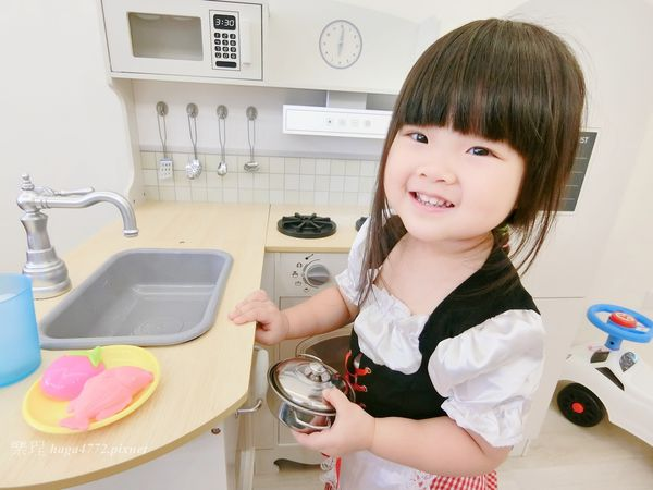 【女寶扮家家酒】木製廚房玩具│kikimmy加大版歐式木製大型聲光廚房玩具組