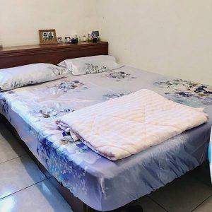 買1送1寢具-京都手祚花卉系列冰絲兩用涼蓆床包枕套3件組